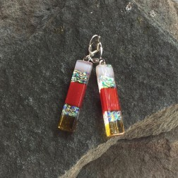 Red Striped Art glass Earrings