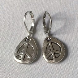 Peace Sign Earrings Lever Backs