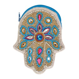 Hamsa Beaded Coin Purse.