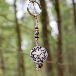 Peace Dove Carved Bone and Hemp Keychain