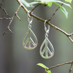 Large Silver Peace sign Tear Drop Earrings
