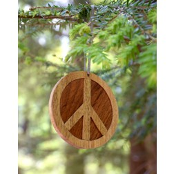 Wooden Peace Sign Ornament
