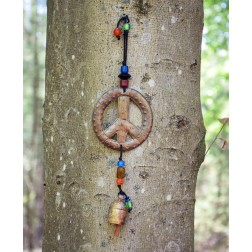 Peace Sign Wooden Wind Chimes