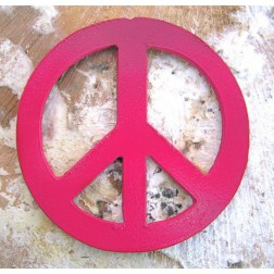Pink Painted Metal Peace Sign Artisan Magnet