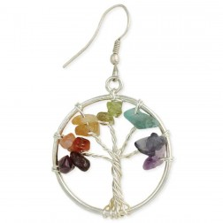 Tree of Life Silver Agate Earrings