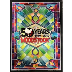 Woodstock 50th Anniversary Poster Stained Glass