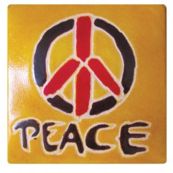 Peace Leather Coin Purse with Snap