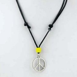 Necklace - Peace Pendant with Yellow Bead