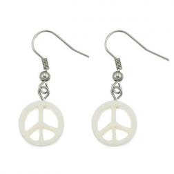 Earrings - White Peace Bone Earrings