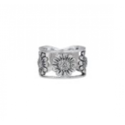 Ring - Sun and Flower Sterling Silver Band
