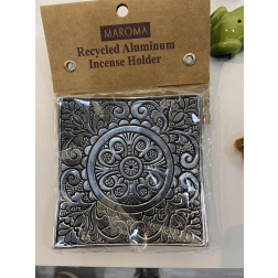 Incense Holder - Silver Square Embossed Tray