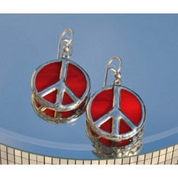 Artisan Crafted Tiffany Glass  Peace Sign Earrings