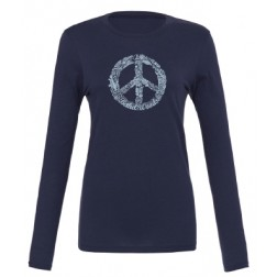 Long sleeve BW Peace Sign Tee - Navy