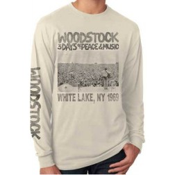 Long Sleeve Tee - Woodstock Crowd Scene; Cream