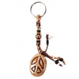 Keychain - Hemp Keychain with bone peace pendant