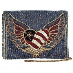 Liberty - Patriotic Heart Beaded Bag