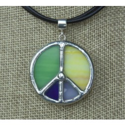 Necklace - Tiffany Peace Multicolor Green, Yellow, Ultramarine, Lavender