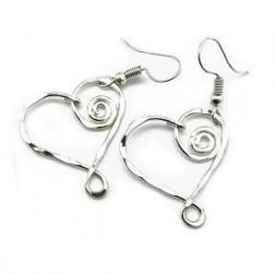 Earrings - Swirly Heart Silver Earrings