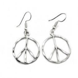Earrings - Hammered Silver Peace Earrings Anju