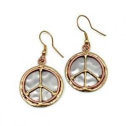 Earrings - Mixed metal earrings with peace sign