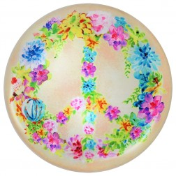 Paperweight - Floral Peace Wreath Glass Dome
