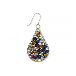 Earrings - Iridescent Bead Silver Earrings