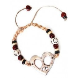 Bracelet - Peace Heart Bone Hemp Bracelet