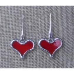 EARRINGS-Tiffany Glass Heart Earrings in Spectrum Red