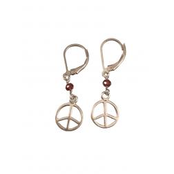 Earrings - Sterling Silver Gem Stone Tiny Peace Sign Earrings