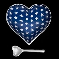Heart Dish - White Stars on Blue Dish