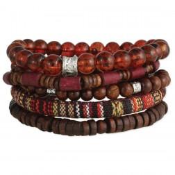 Bracelet- Men's Brown Wood & Stone Bead Bracelet Set