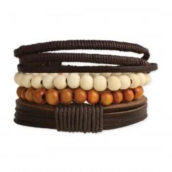 Bracelet - Men's Rustic Leather & Wood Bracelet Set