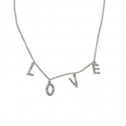 Necklace - LOVE Crystal Charms Silver