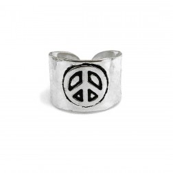 Ring - Silver Plated Peace Cuff Ring