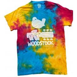T-shirt: Woodstock bird on guitar Multi Rainbow tie dye