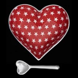 Heart Dish - White Stars on Red Dish