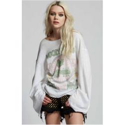 Bell Sleeve Sweatshirt - Woodstock Peace, Love, Music Ladies Sweatshirt