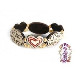 Bracelet - All you need Is Love stretch Bone Bracelet
