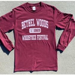 Bethel Woods Long Sleeve Varsity Tee - Maroon