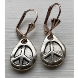 Silver Peace Drop Earrings. Artisan Made.