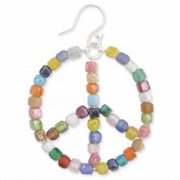 Earrings - Living in Harmony Multi Bead Peace Sign Earrings
