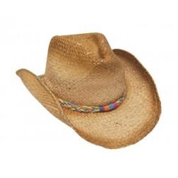 Cowboy hat - Raffia Cowboy with Multicolor Braid