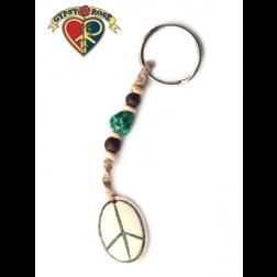 Keychain-Oval Peace Bone w/Gemstone Inlay