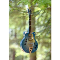 Navy Blue Miniature Guitar Ornament