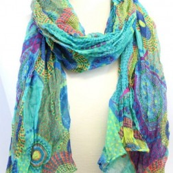 Scarf - Cobalt Lime Dots and Daisy Scarf