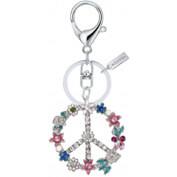 Keychain - Crystal Flower Peace Sign Keychain