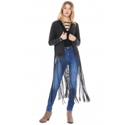 Long Sleeve Fringe Vest