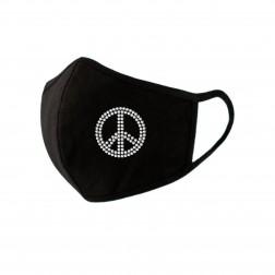 Facemask - Rhinestone Peace Sign