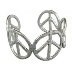 Bracelet- Hammered Silver Peace Sign Bracelet