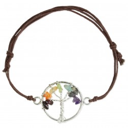 Tree of Life Stone Chip Pull Bracelet